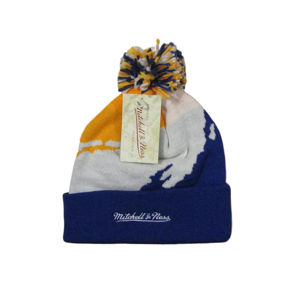 Golden State Warriors 1997 Vintage Logo Script Pom Beanie Mitchell & Ness