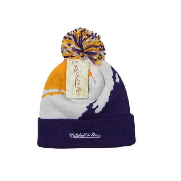 Los Angeles LA Lakers Script Pom Beanie Hat Mitchell & Ness