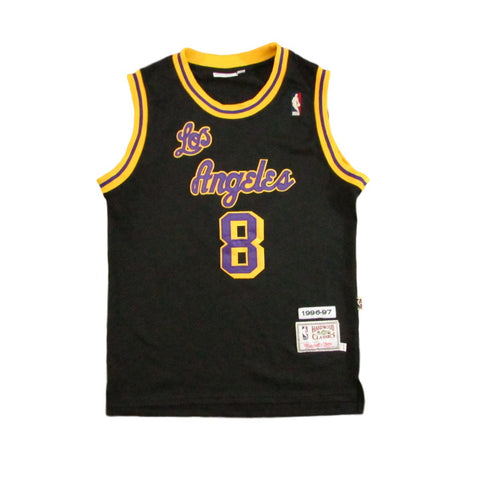 Los Angeles Lakers Kobe Bryant 1996 Black Cursive Font Basketball Jersey Mitchell & Ness Sz M