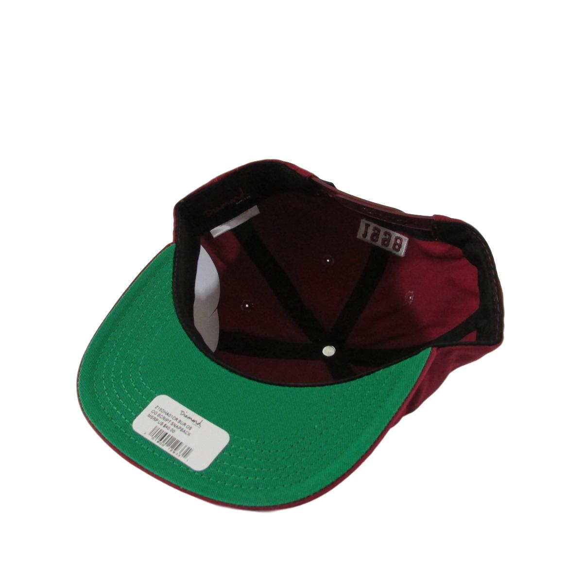 Diamond Supply Co Burgundy Red Cursive Font Snapback Hat