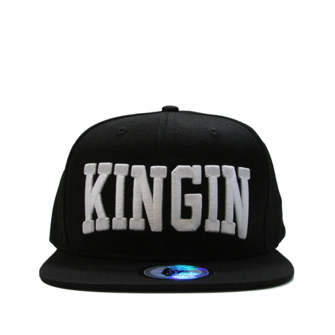 Last Kings KINGIN Straight Font Black Snapback Hat
