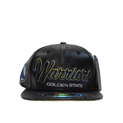 Golden State Warriors Genuine Leather Snapback Hat by PRO STANDARD