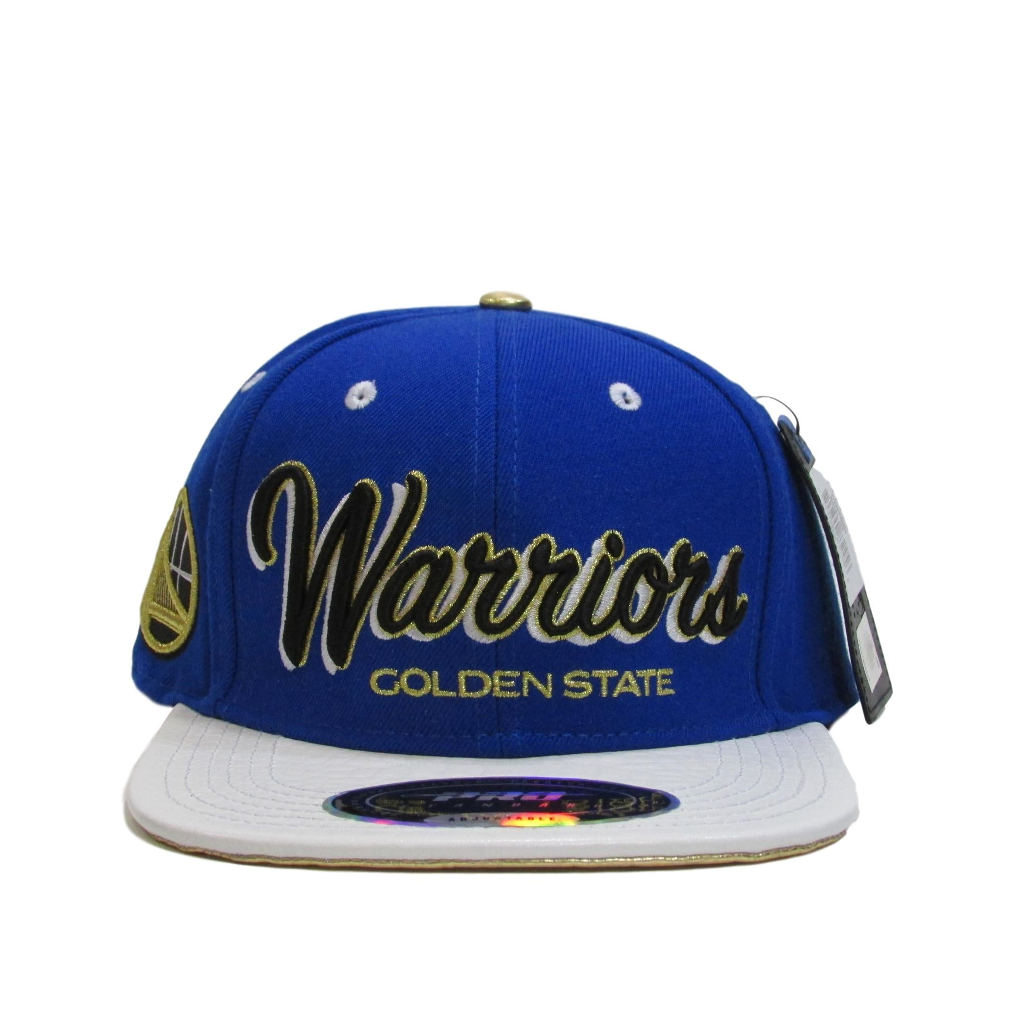 Golden State Warriors White Leather Strapback Hat Pro Standard
