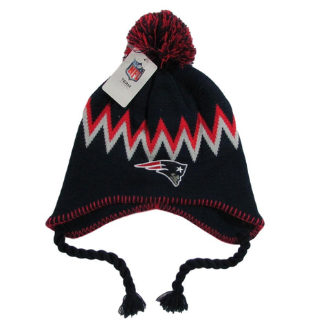 New England Patriots Ear Flaps Football Pom Beanie Team NFL