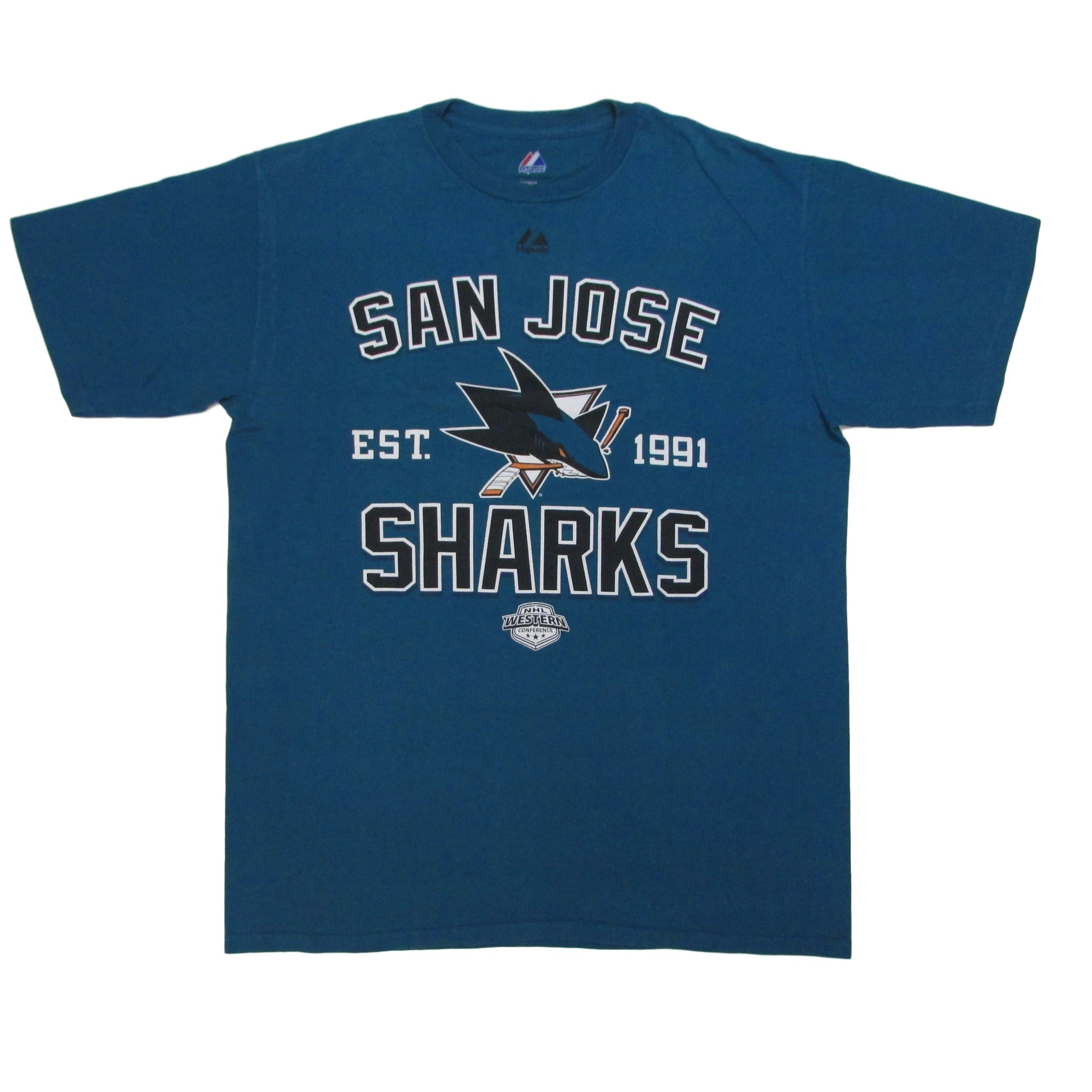 San Jose Sharks Est. 1991 Hockey T-Shirt Majestic Sz L