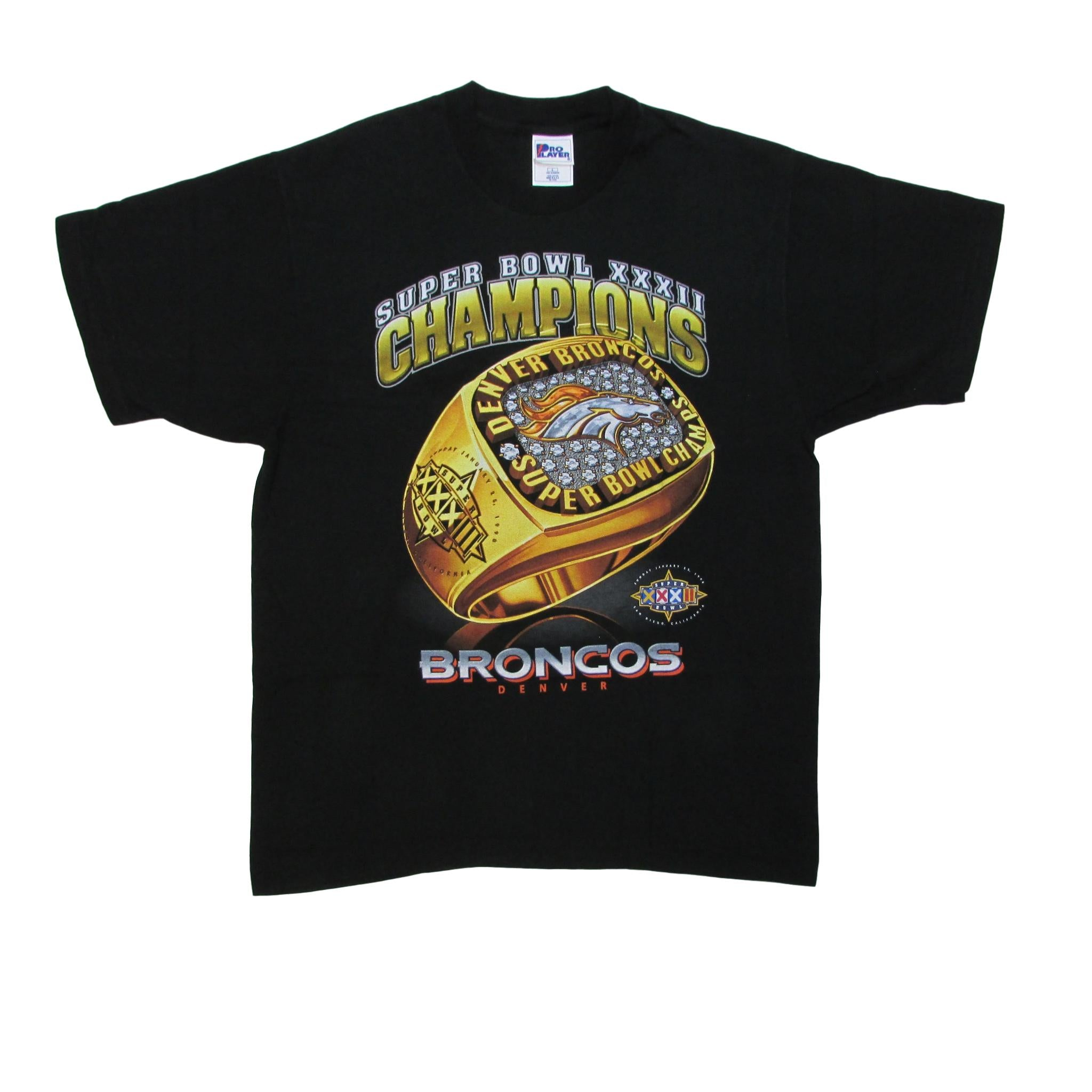 Denver Broncos Super Bowl XXXII Champions T-Shirt Pro Player L