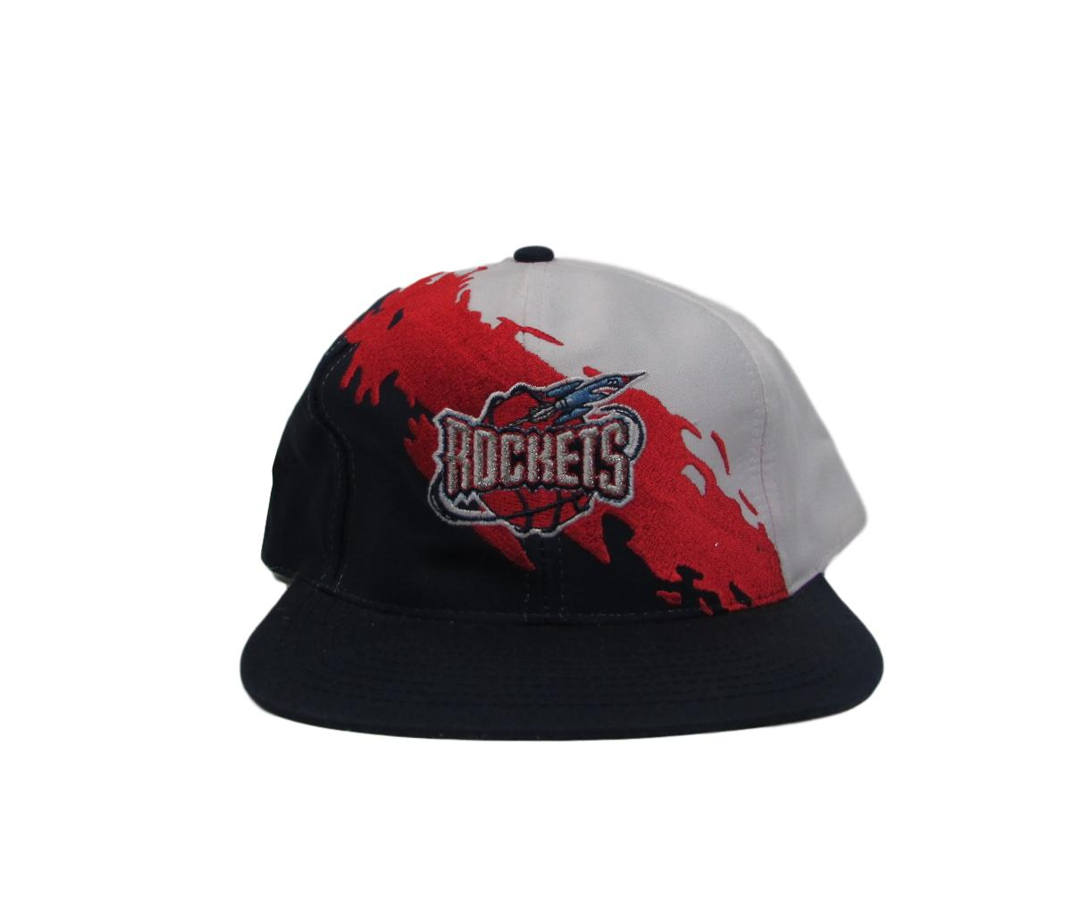 Houston Rockets 1995 Deadstock Paint Splash Snapback Hat Logo 7