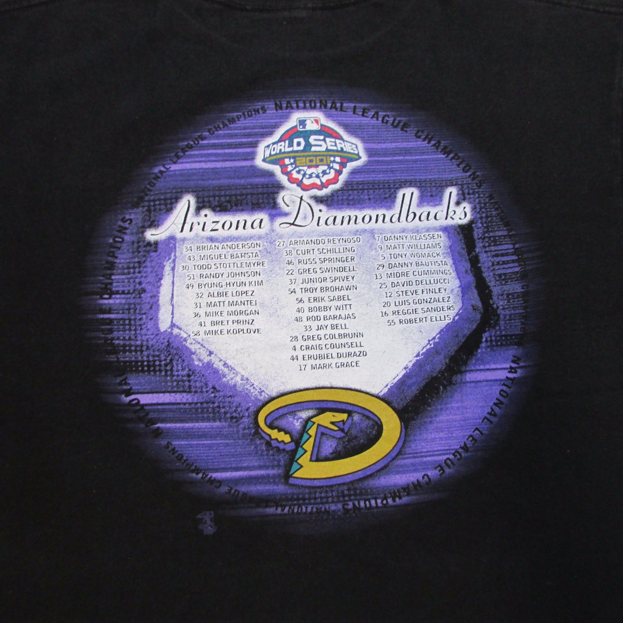 Arizona Diamondbacks 2001 National League Champions T-Shirt Majestic Sz XL