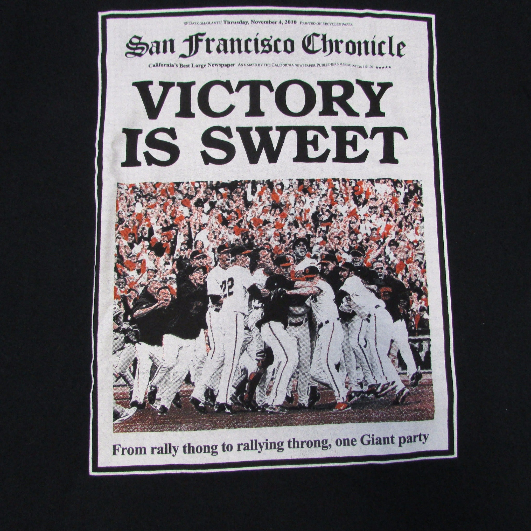 San Francisco Giants Victory is Sweet T-Shirt World Series Champs Sz XL