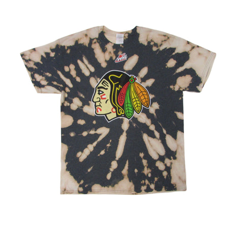 Chicago Blackhawks Vintage WHL Tie Dye Bleach T-Shirt Sz L
