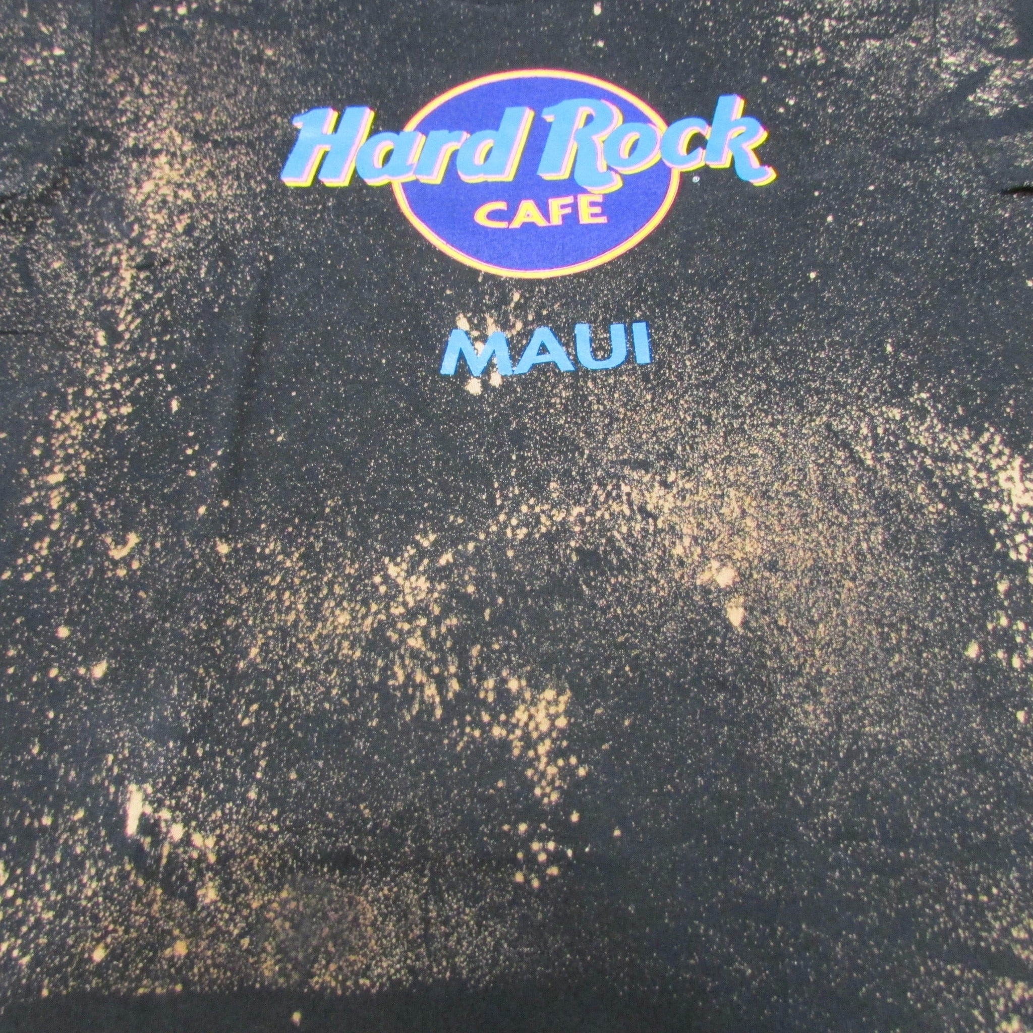 Hard Rock Cafe Maui Hawaii Vintage Bleach Spray Pattern T-Shirt Sz L
