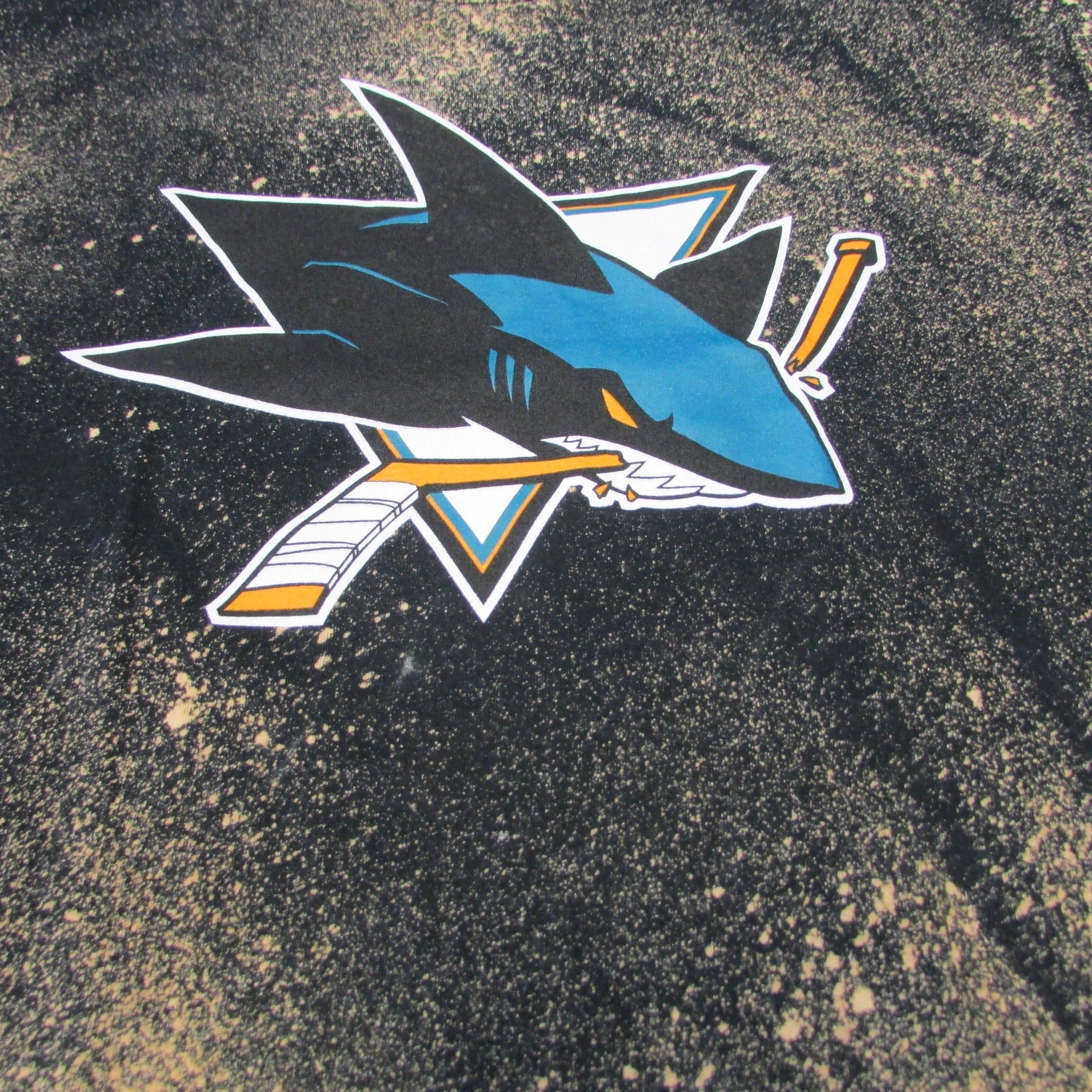 San Jose Sharks Bleach Pattern Hockey T-Shirt Tie Dye Sz L