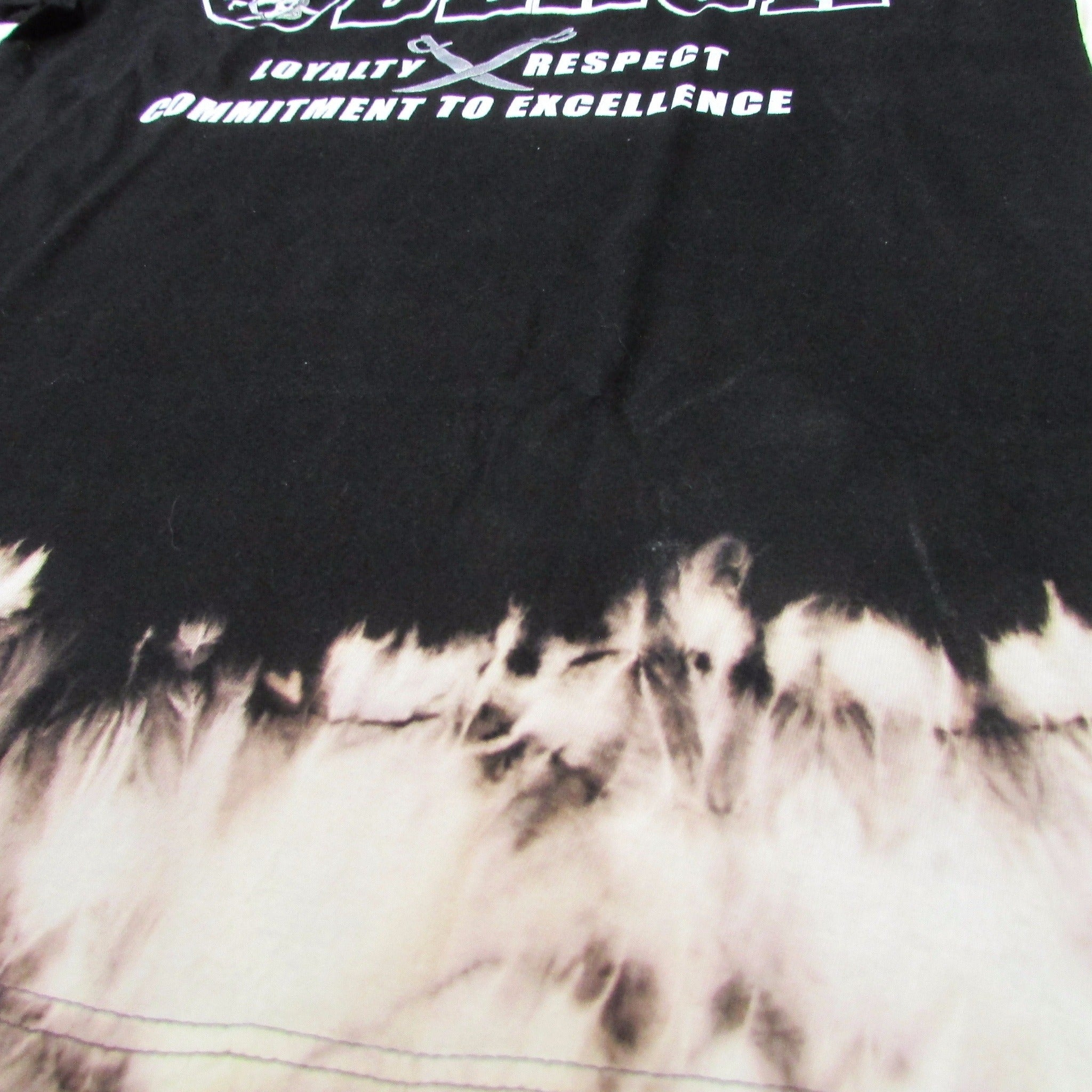 Oakland Raiders Silver and Black Bleach Drip Tie Dye T-Shirt Sz L