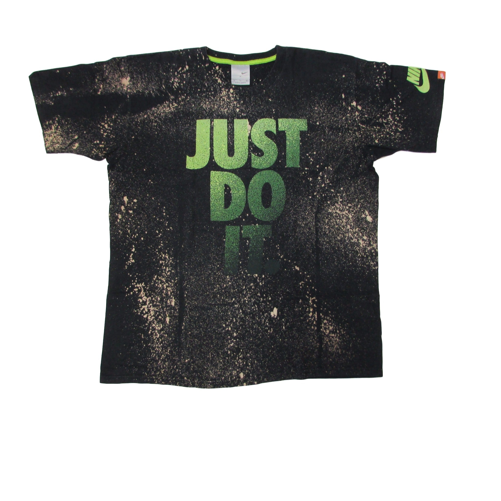 Nike Just Do It Spotted Bleach Tie Dye T-Shirt Green Zest Sz XL