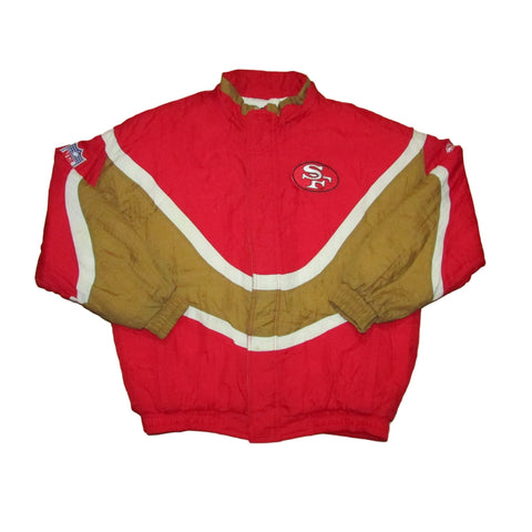 San Francisco 49ers Puff Jacket Red & Gold Apex One Sz L