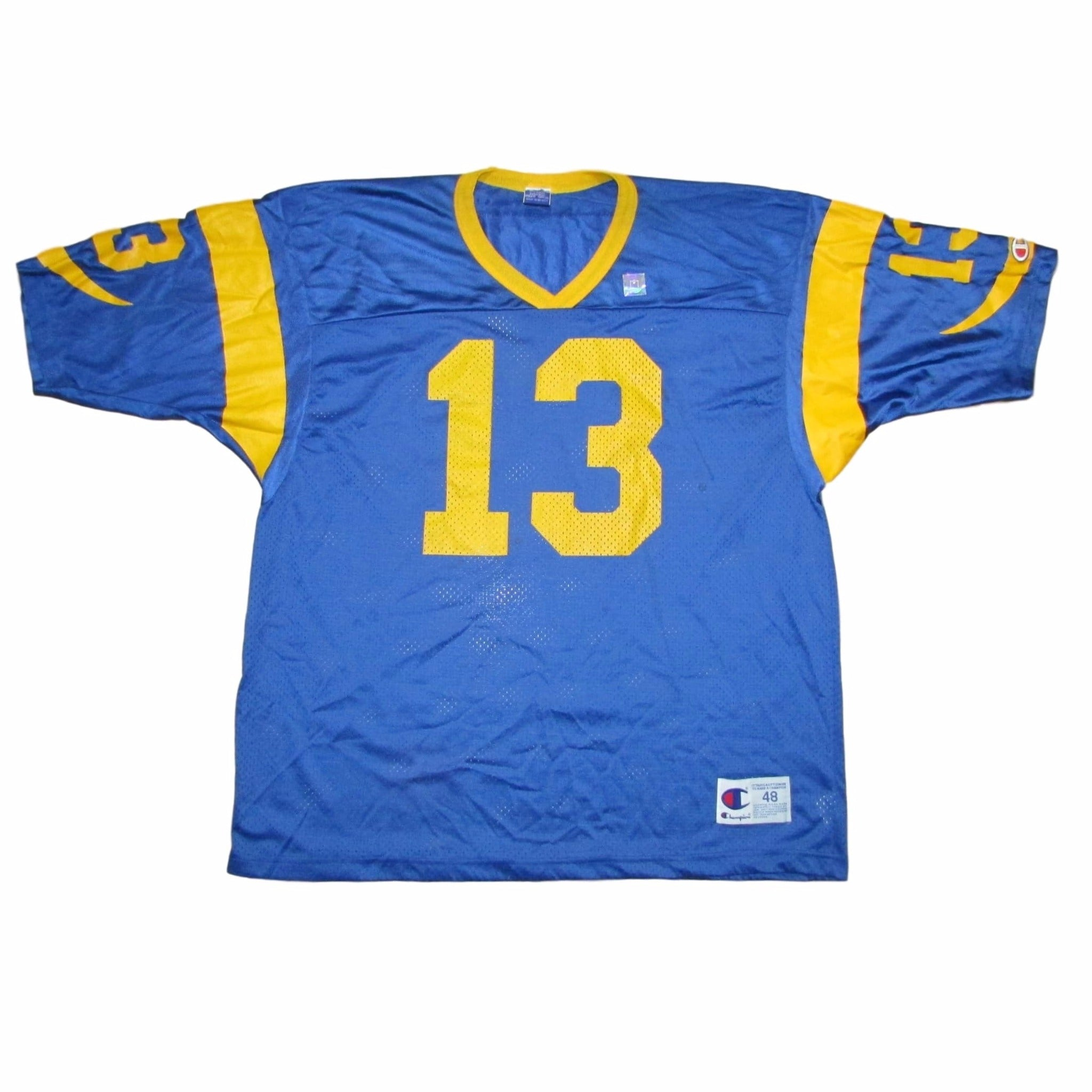 St. Louis Rams Kurt Warner CHAMPION Jersey LA Rams Colors Sz 48