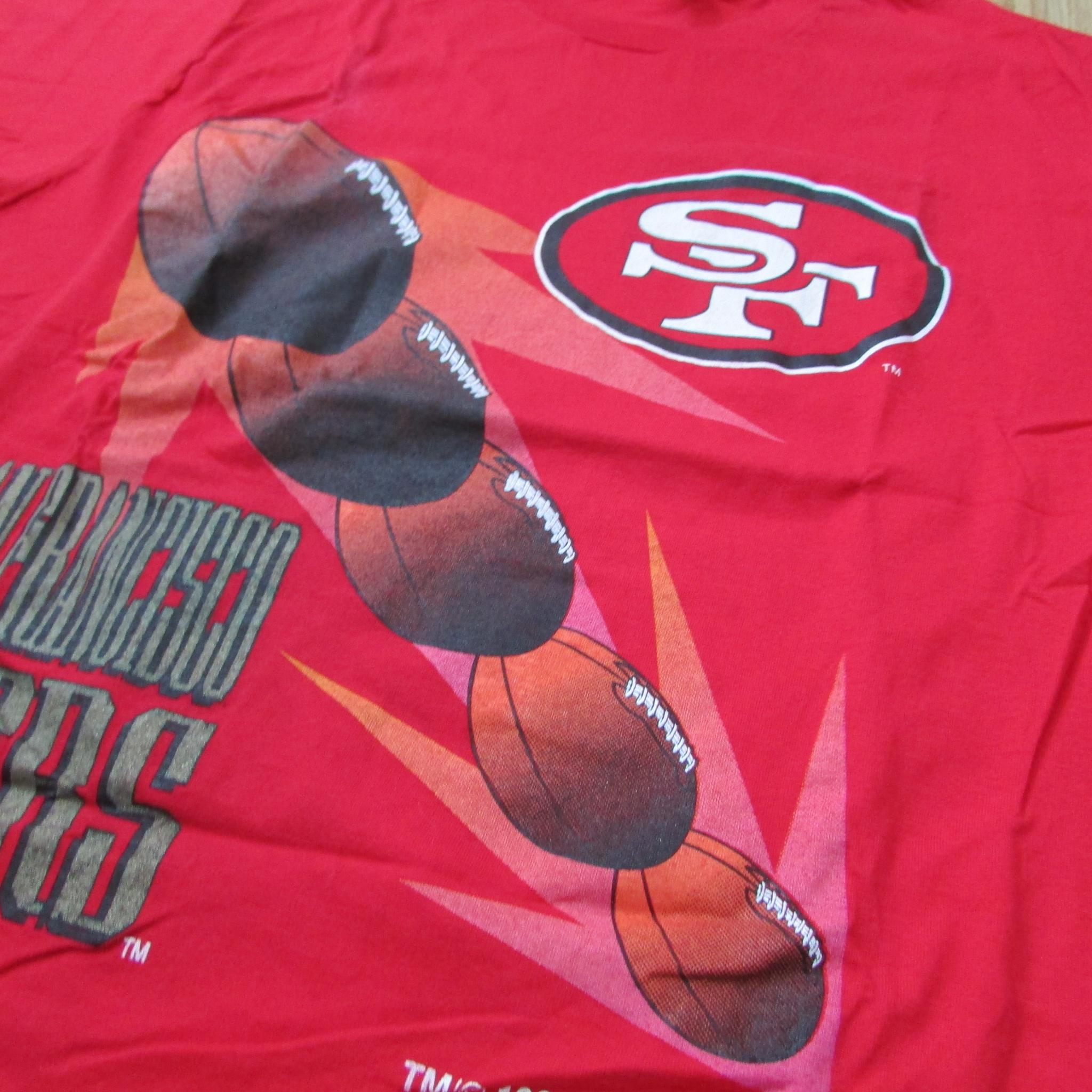 San Francisco 49ers Vintage 5x Football T-Shirt Competitor Sz XL