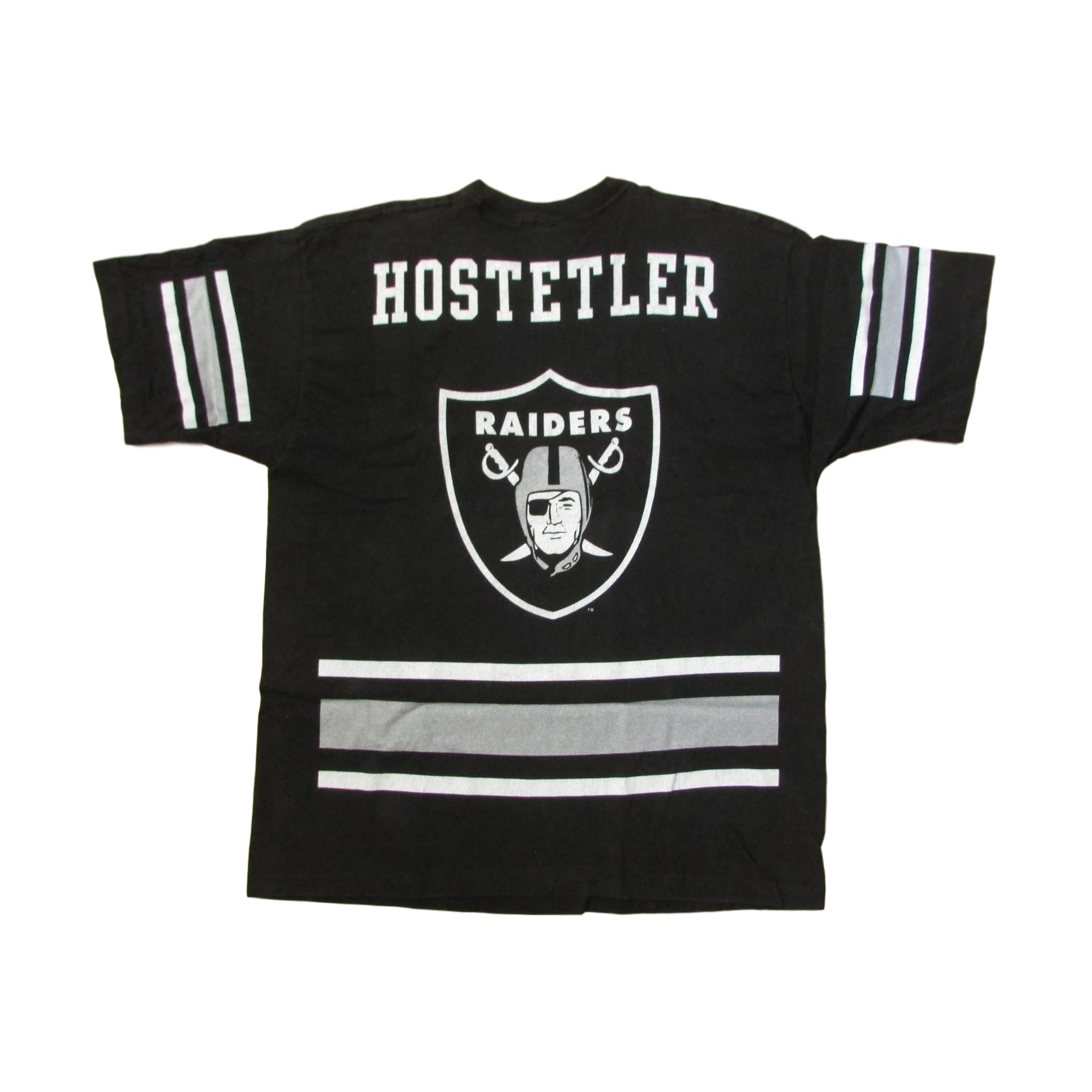 Oakland Raiders Jeff Hostetler All Over Font T-Shirt Pro Player Sz XL