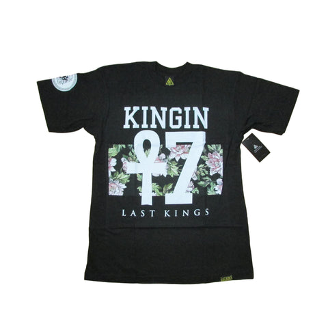 Last Kings Kingin Ankh Cross 7 Floral Premium Black T-Shirt