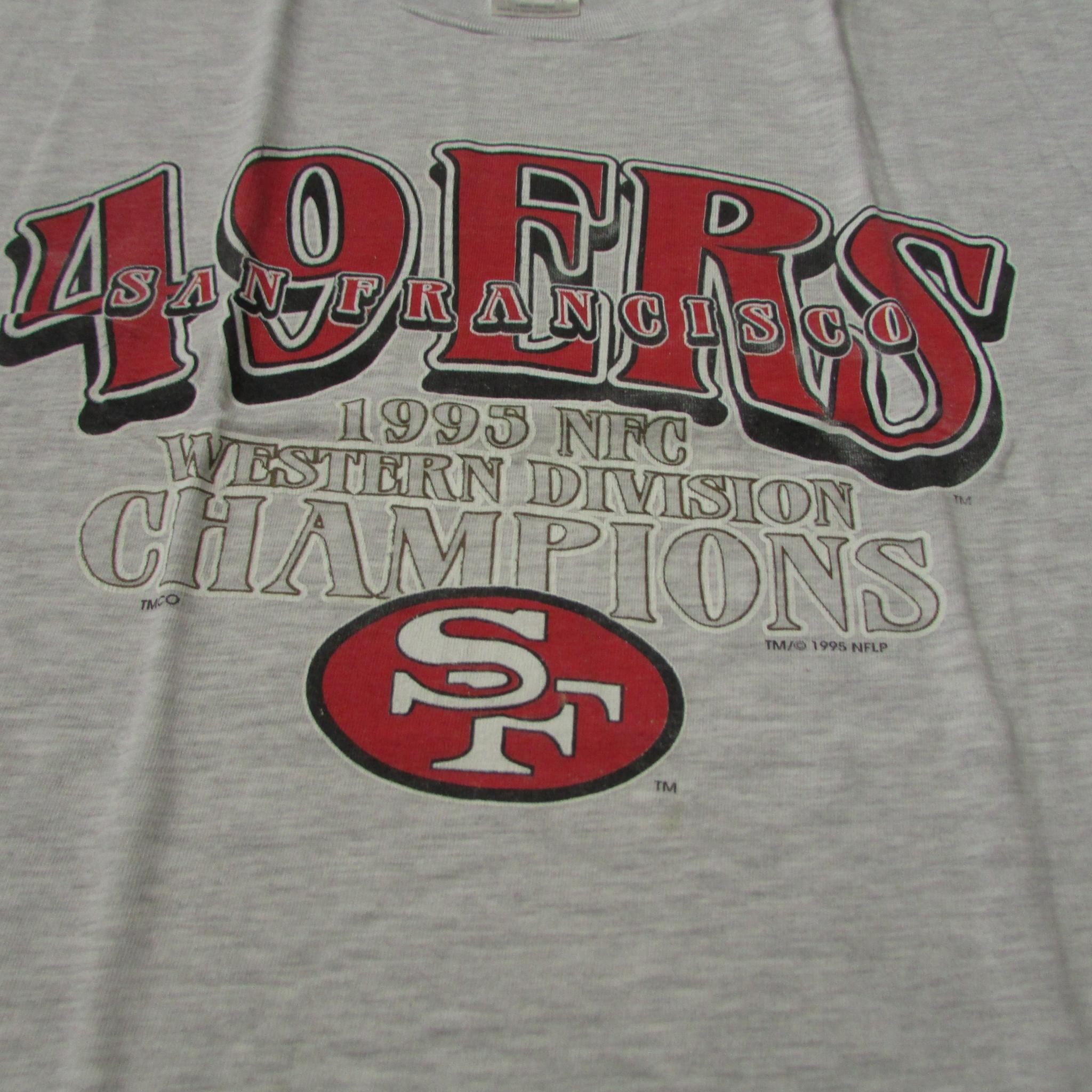 San Francisco 49ers 1995 NFC Western Conference Champions T-Shirt Sz XL TRUE CHAMP