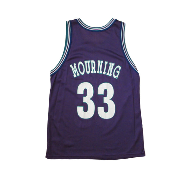 Charlotte Hornets Alonzo Mourning Vintage Basketball Jersey Champion Sz 44
