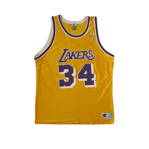 Los Angeles Lakers Shaquille O'Neal Golden Silk Vintage CHAMPION Jersey Sz 52