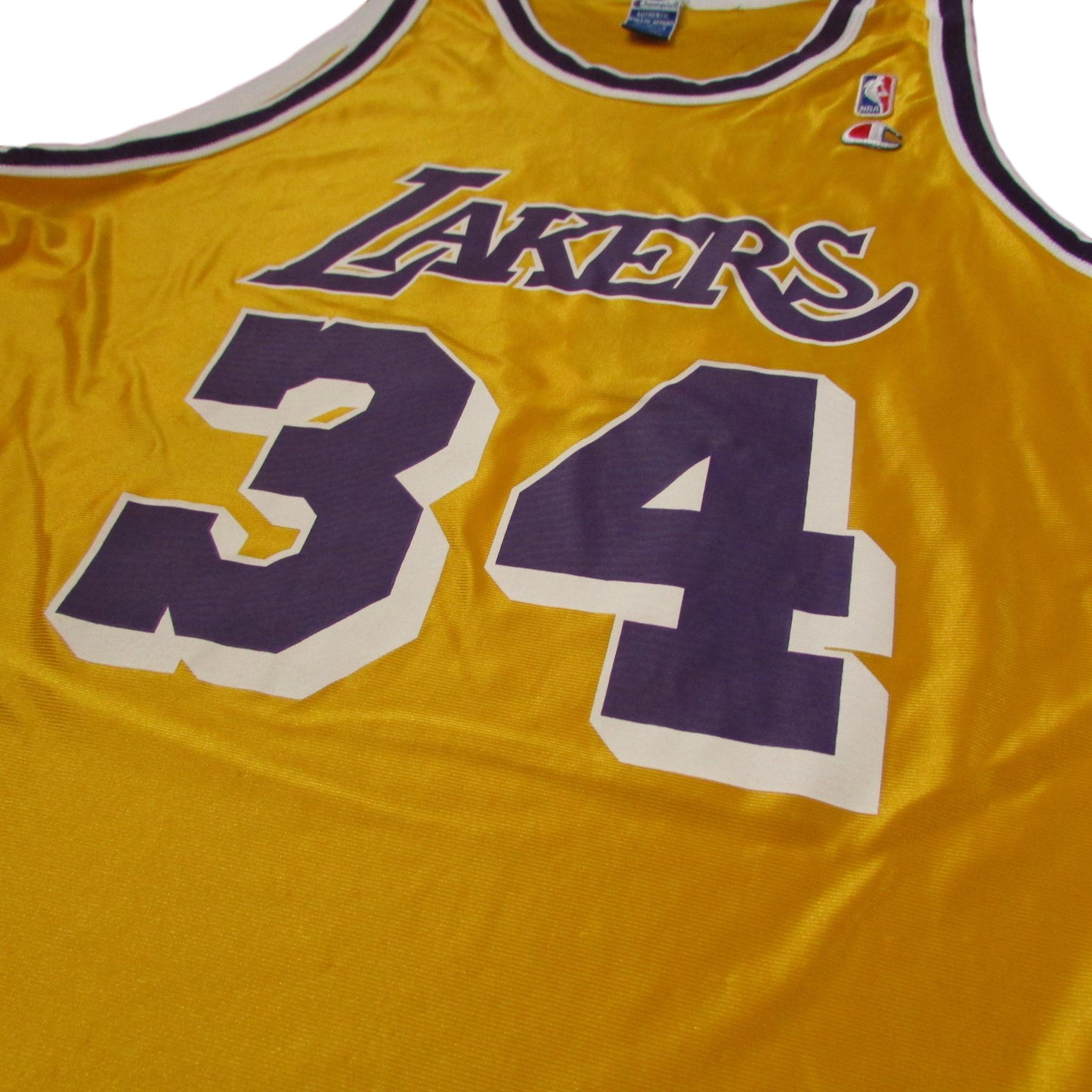 7c08bba0b9ca ... Los Angeles Lakers Shaquille O Neal Golden Silk Vintage CHAMPION Jersey  Sz ...
