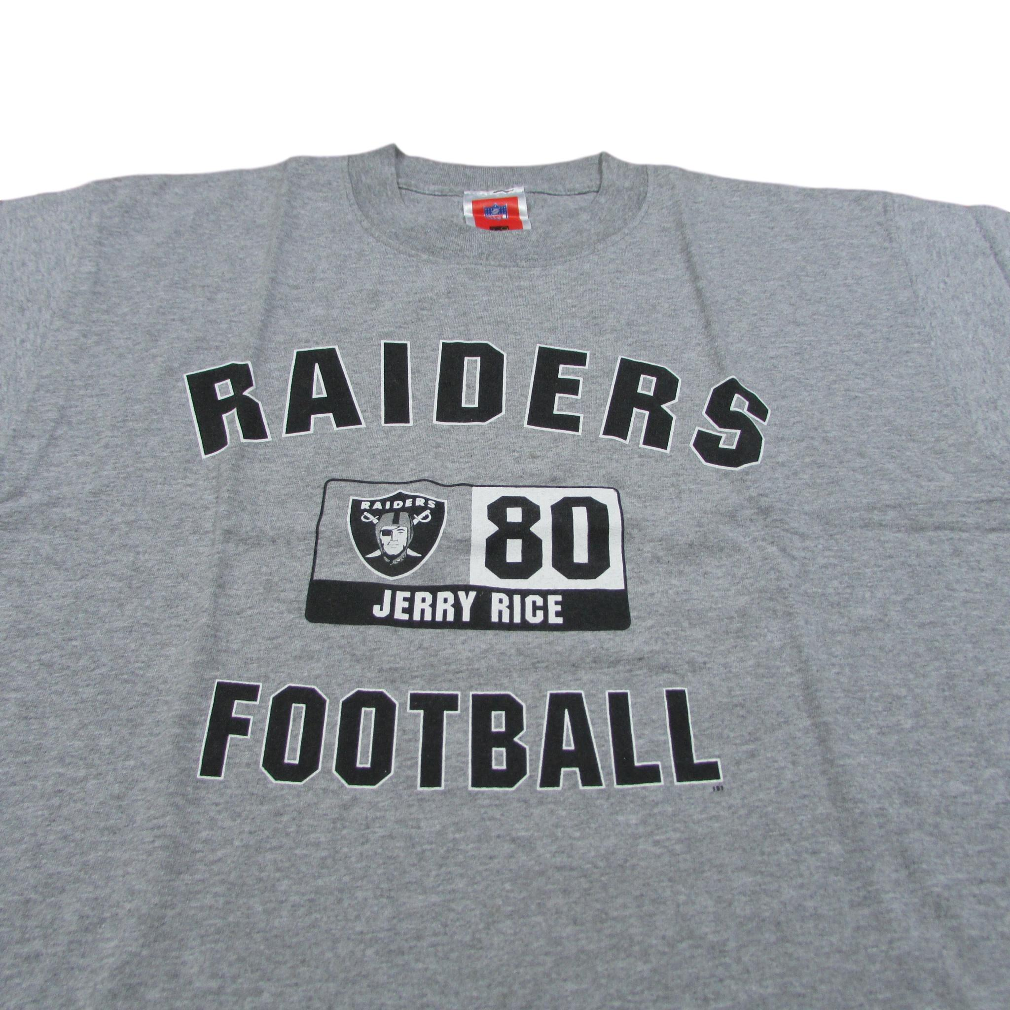Oakland Raiders Jerry Rice 80 Basic Grey Football T-Shirt Sz L