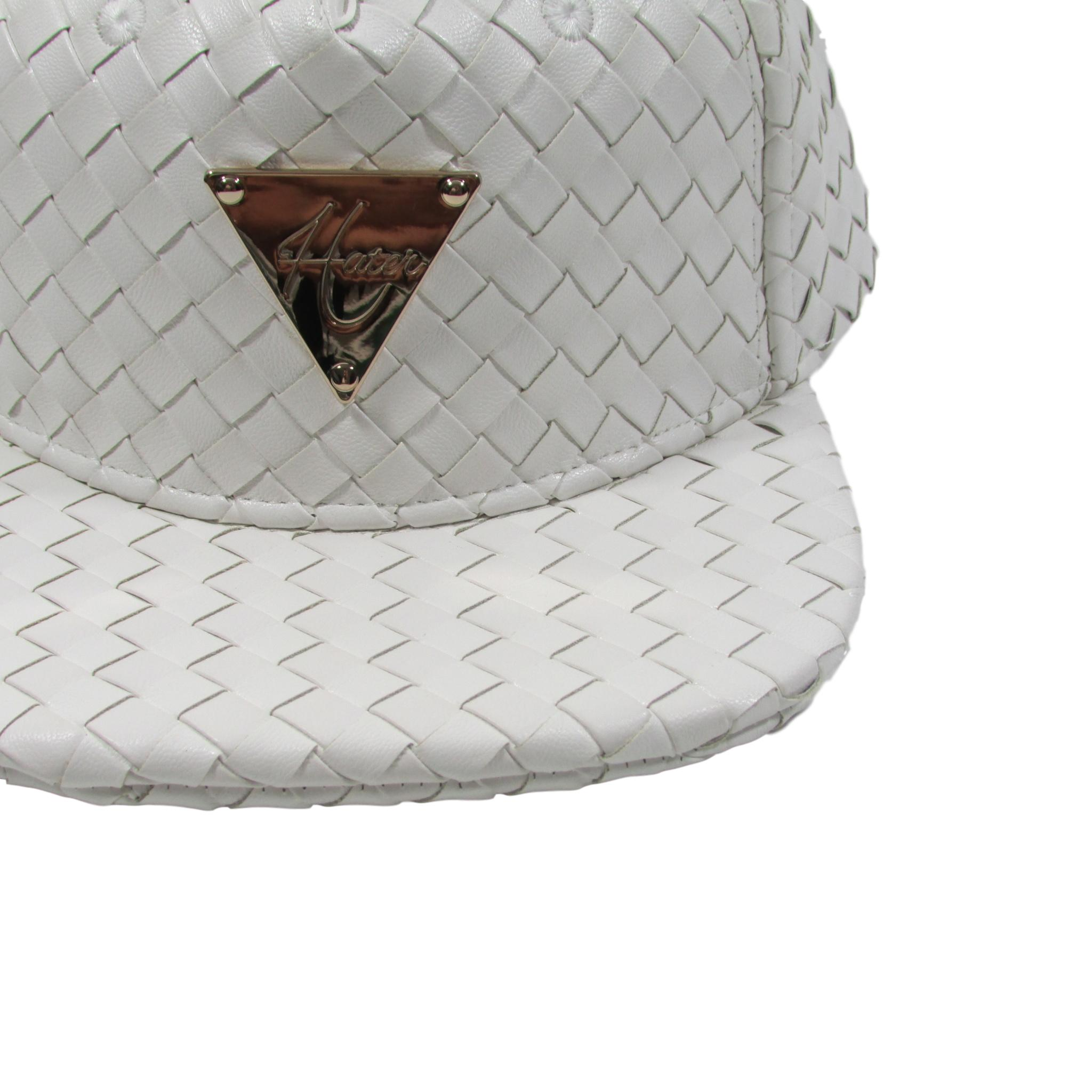 HATer Full Intrecciato Woven White Premium Leather Snapback Hat