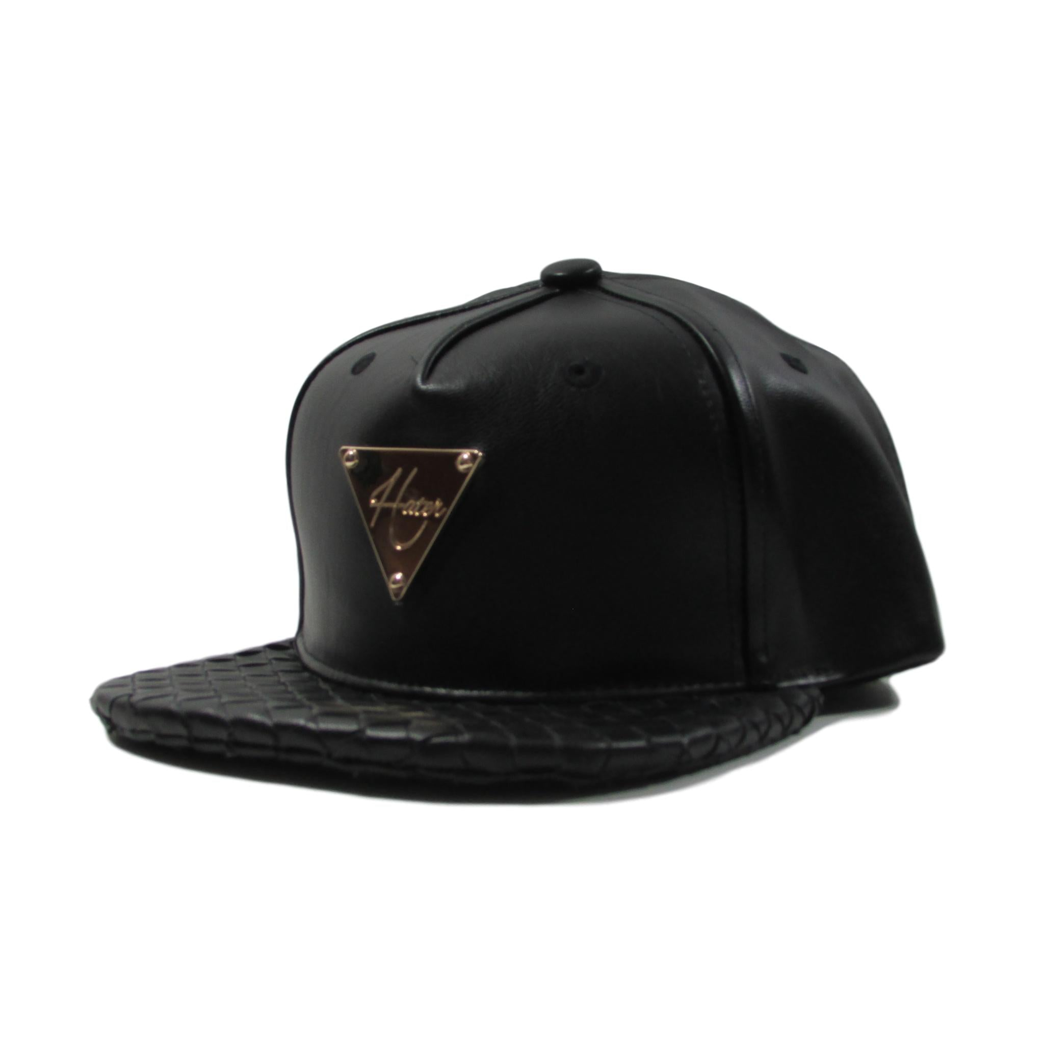 HATer Premium Black Leather Snapback Hat w/ Intrecciato Brim