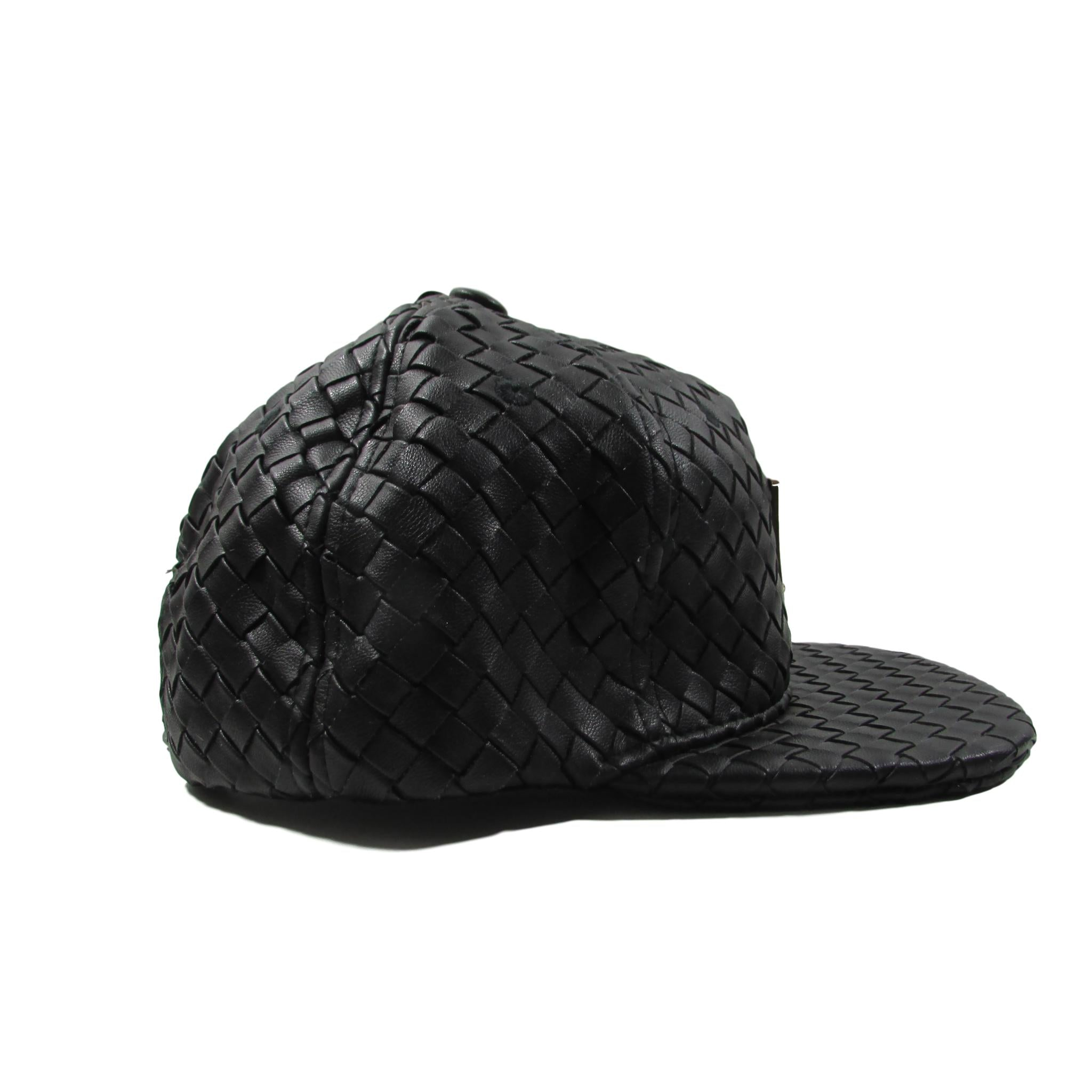 bb62d8b1a1d HATer Full Intrecciato Woven Black Premium Leather Snapback Hat ...
