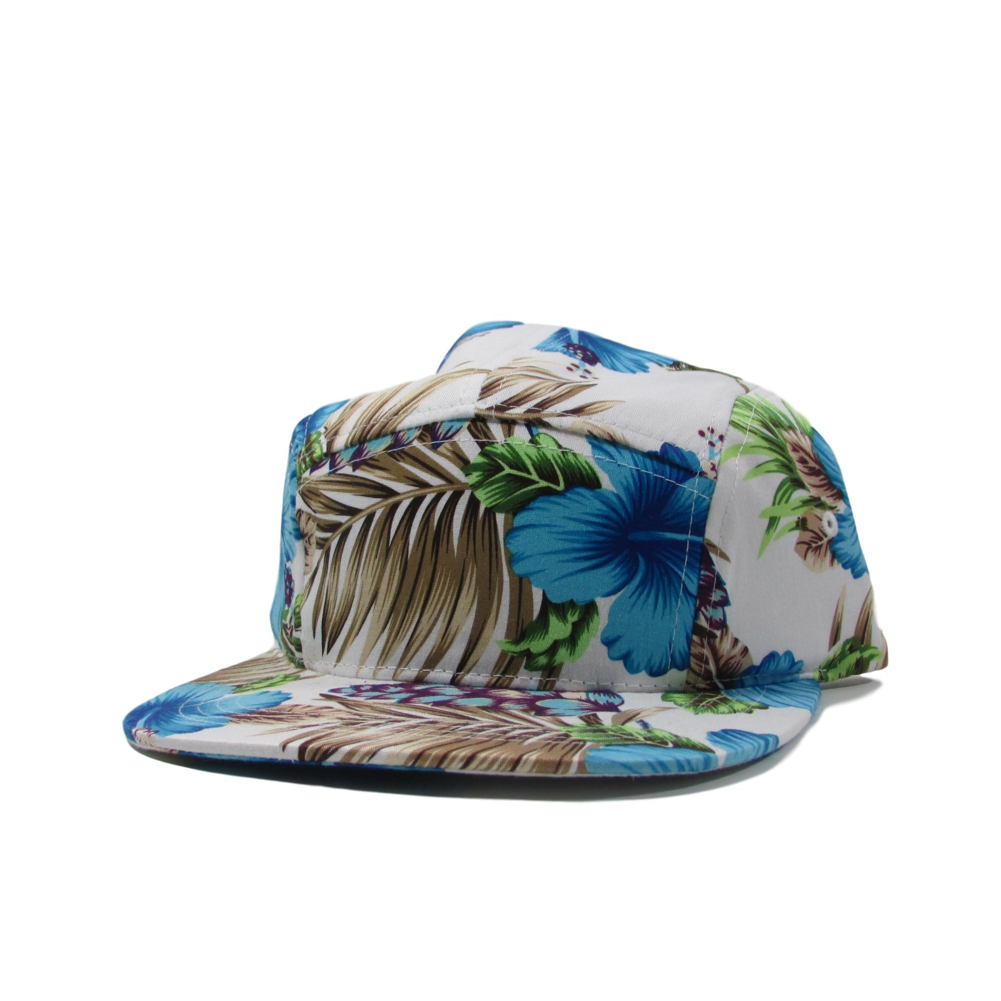 BK Caps Hawaiian Blue Floral 5 Panel Leather Strapback Hat