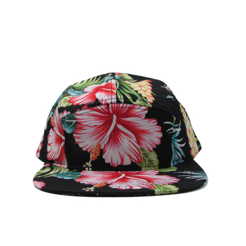 BK Caps Black Hawaiian Floral 5 Panel Leather Strapback Hat