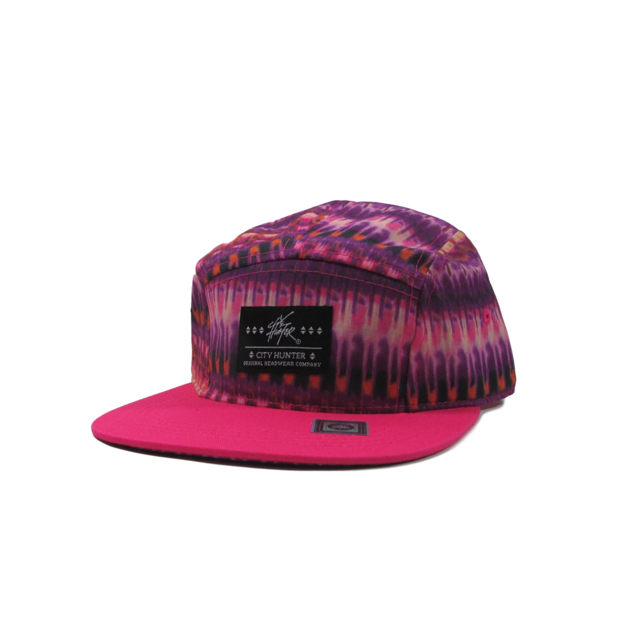 City Hunter Volcanic Ash Magenta 5 Panel Leather Strapback Hat
