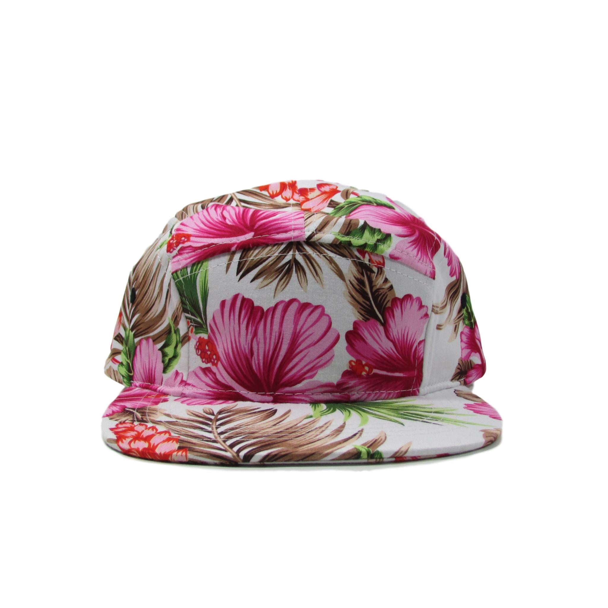 BK Caps Pink Floral Hawaiian 5 Panel Leather Strapback Hat