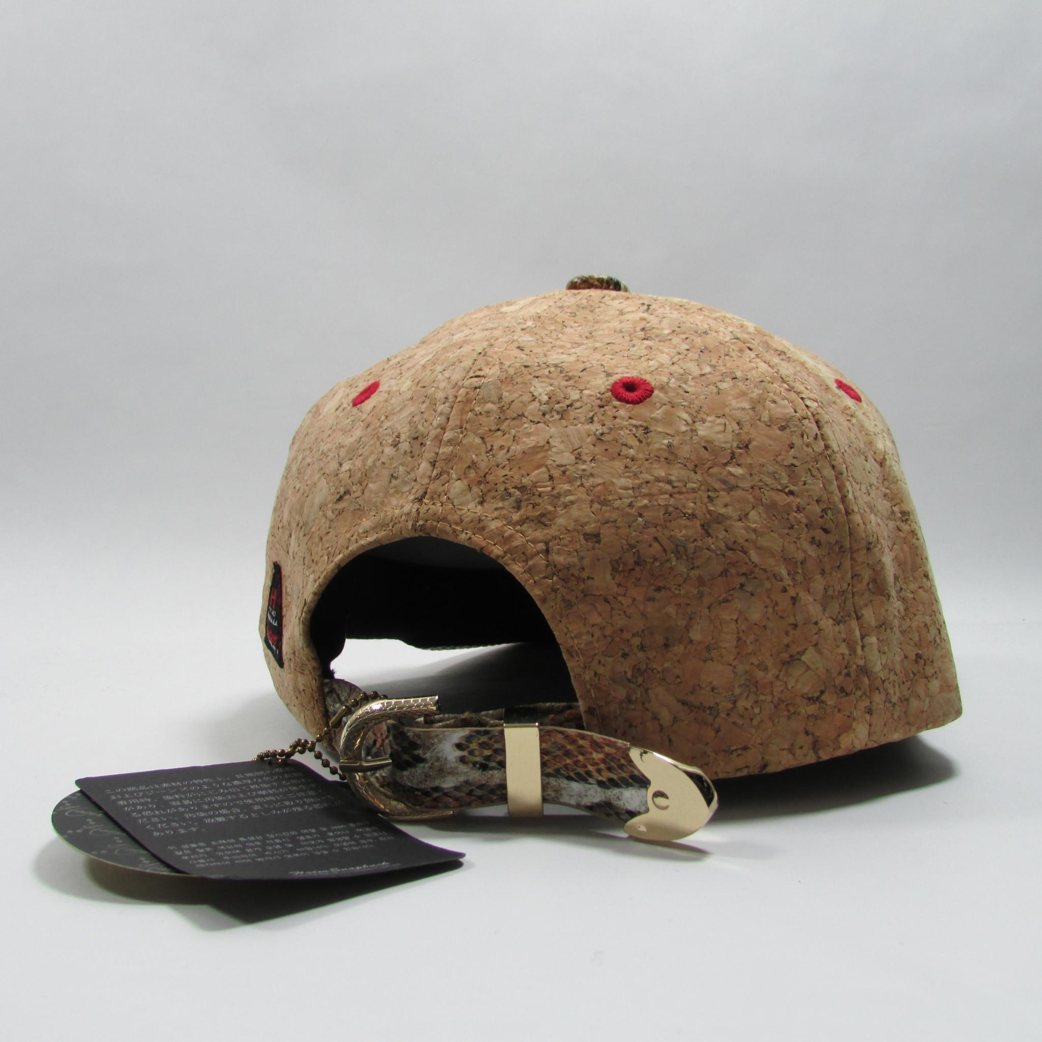 HATer Wine Cork Strapback Hat w/ Snake Python Leather Brim