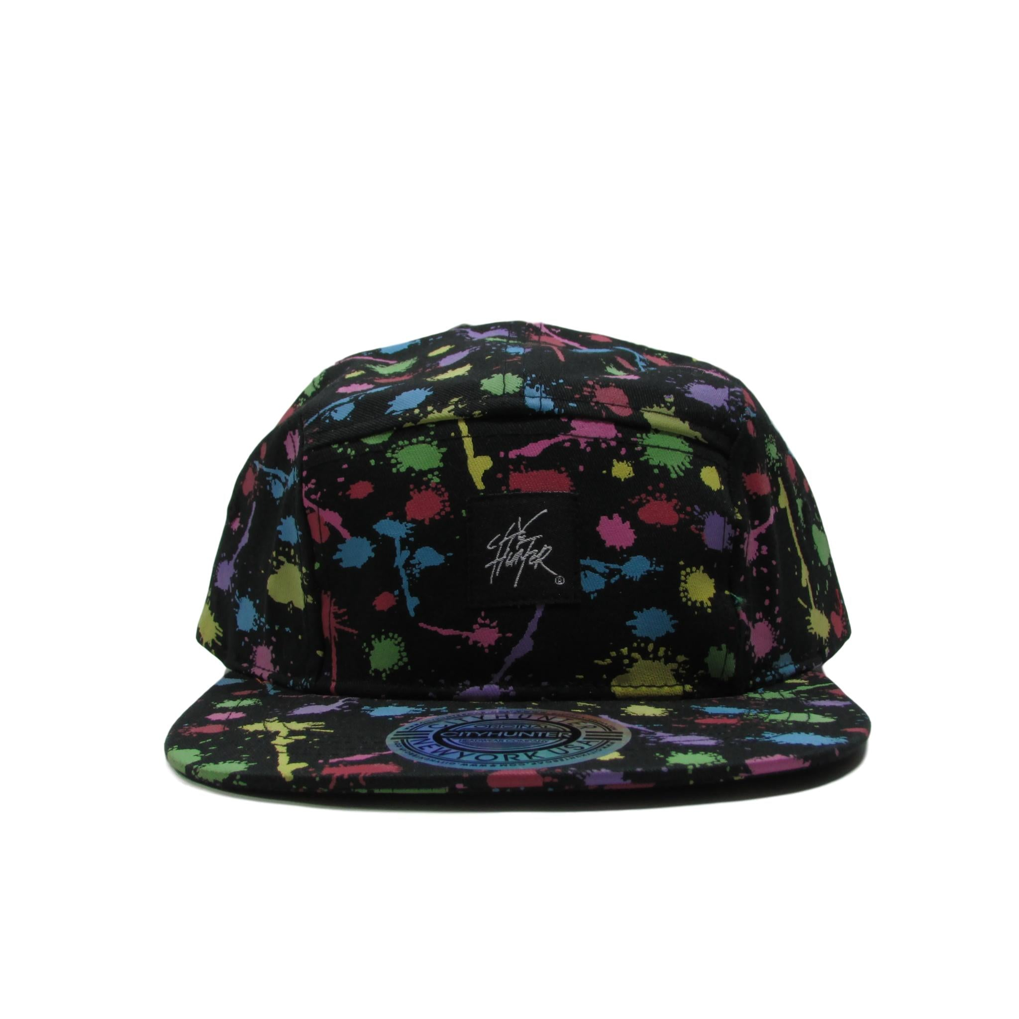 City Hunter Paint Ball Splash Leather 5 Panel Strapback Hat
