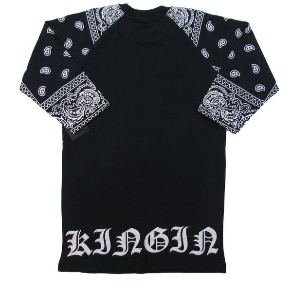 Last Kings Navy Blue Paisley Raglan T-Shirt