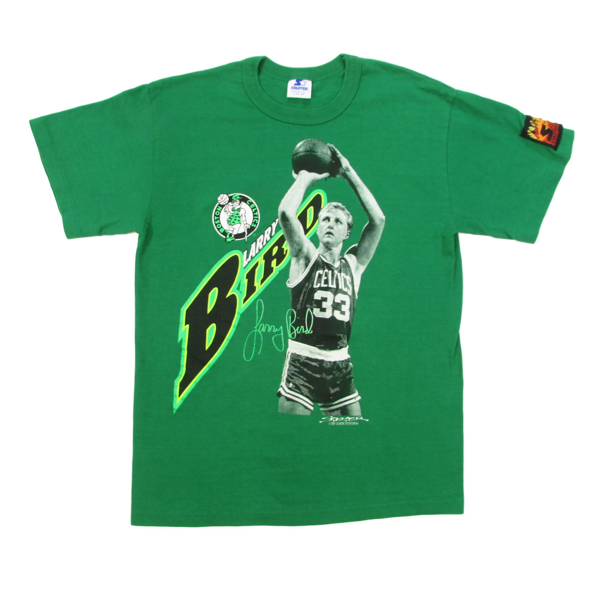 Boston Celtics Vintage Larry Bird Basketball Starter T-Shirt Sz L