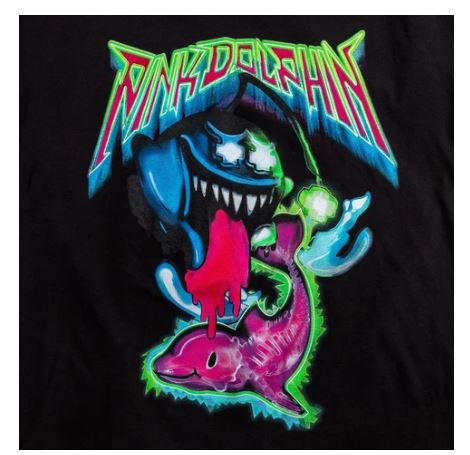 Pink Dolphin Ghost Angler Black T-Shirt