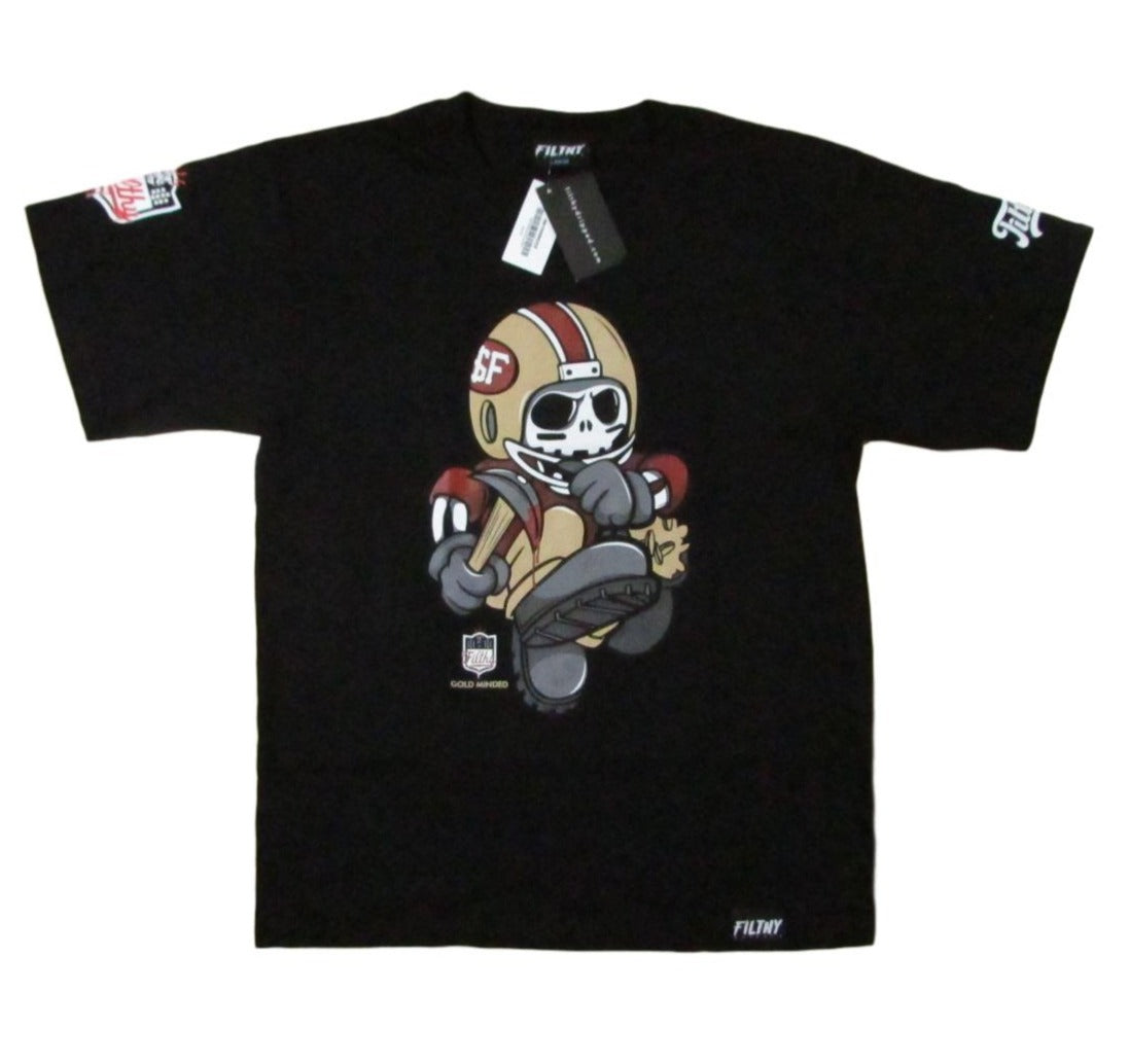 Filthy Dripped Faux SF 49ers Gold Minded Skull Graphic T-Shirt