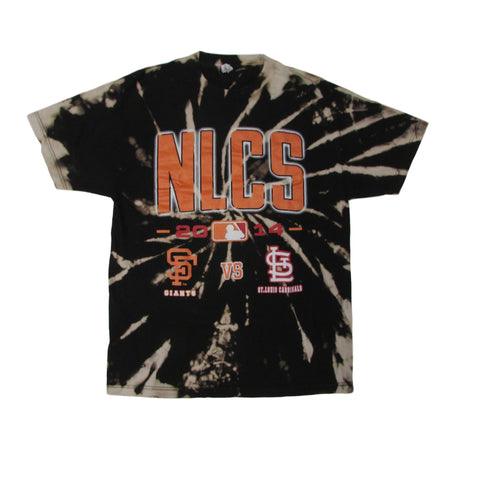 2014 NLCS Baseball Tie Dye Bleach T-Shirt Giants Vs Cardinals Sz L