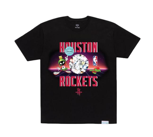 Diamond X Space Jam Houston Rockets T-Shirt - Black