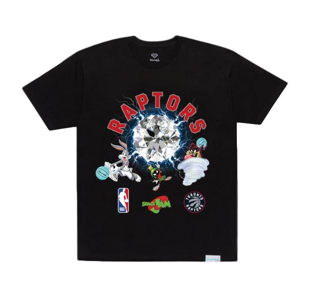 Diamond X Space Jam Toronto Raptors T-Shirt - Black