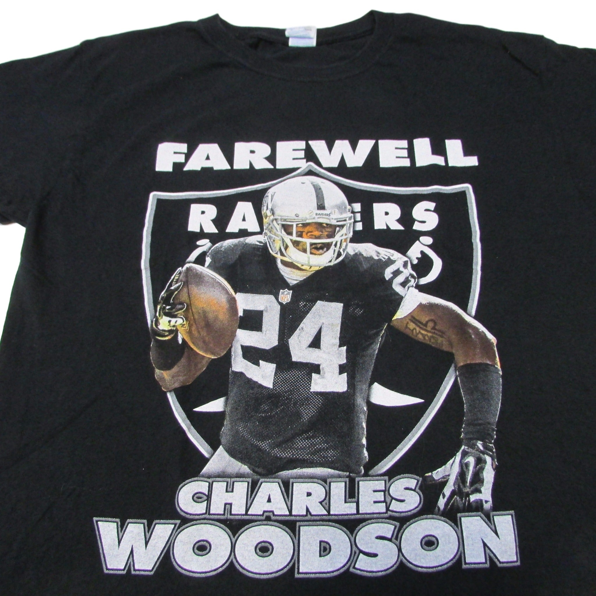 Oakland Raiders Farewell Charles Woodson Football T-Shirt Sz L