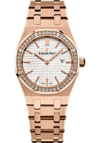 Audemars Piguet Ladies Collection Royal Oak Quartz Watch-Silver Dial 33mm-67651OR.ZZ.1261OR.01 - Luxury Time NYC INC