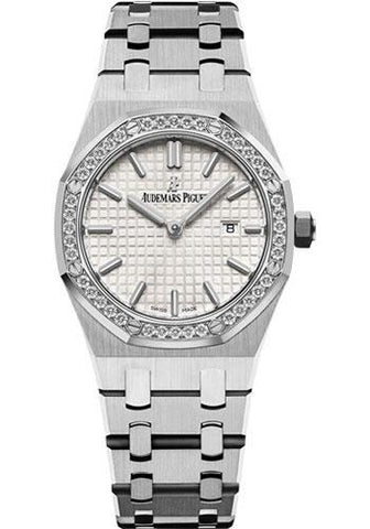 Audemars Piguet Ladies Collection Royal Oak Quartz Watch-Silver Dial 33mm-67651ST.ZZ.1261ST.01 - Luxury Time NYC INC