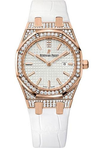 Audemars Piguet Ladies Collection Royal Oak Quartz Watch-Silver Dial 33mm-67652OR.ZZ.D011CR.01 - Luxury Time NYC INC