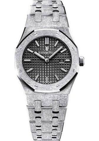 Audemars Piguet Royal Oak Frosted Gold Quartz Watch-Black Dial 33mm-67653BC.GG.1263BC.02 - Luxury Time NYC INC
