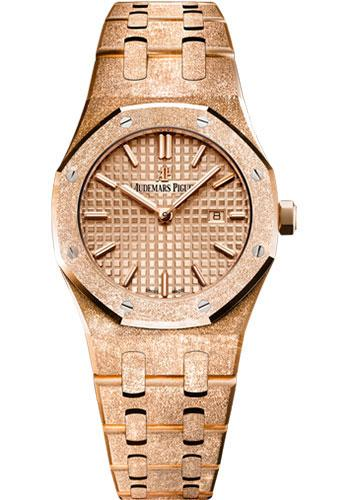 Audemars Piguet Royal Oak Frosted Gold Quartz Watch-Pink Dial 33mm-67653OR.GG.1263OR.02 - Luxury Time NYC INC